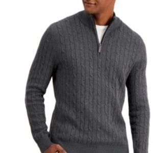 IZOD Cable Knit Cotton Half-Zip Sweater Pullover in Grey w Leather Zip Size XL